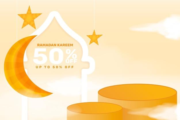 Realistische ramadan kareem-verkoopbanner met 3d podium en kortingsframe