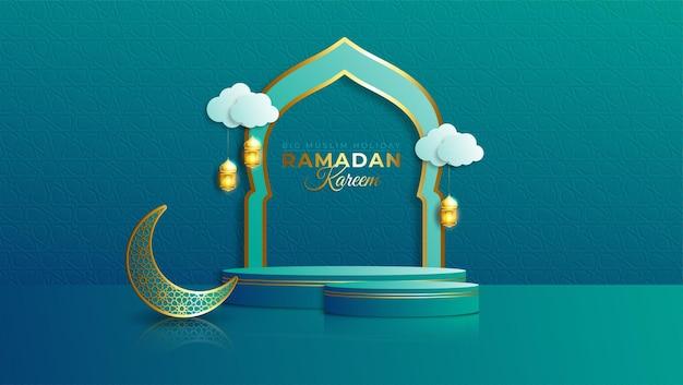 Realistische ramadan kareem-verkoopbanner met 3d podium