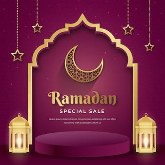 Realistische ramadan kareem-verkoopsjabloon