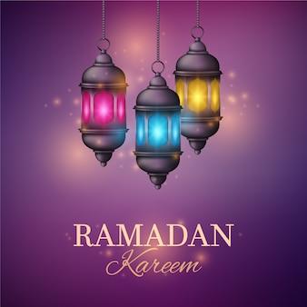 Realistische ramadan met lantaarns