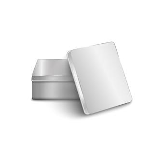 Realistische rechthoekige aluminium metalen doos