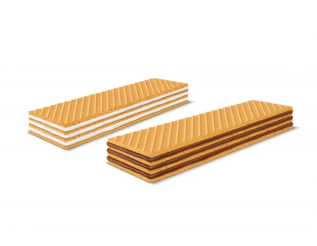 Realistische, rechthoekige, krokante wafels met chocolade en melkvulling