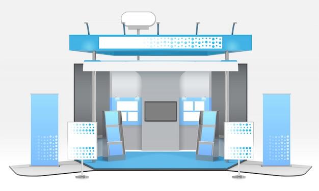 Realistische reclame tentoonstelling cabine samenstelling