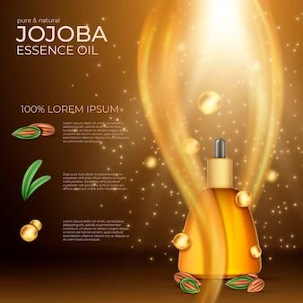 Realistische reclame voor jojoba-olie