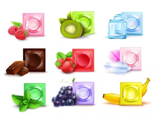 Realistische reeks bemerkte condooms in kleurrijke die pakketten met de chocolade van de vers fruitmunt op witte vectorillustratie wordt geïsoleerd als achtergrond