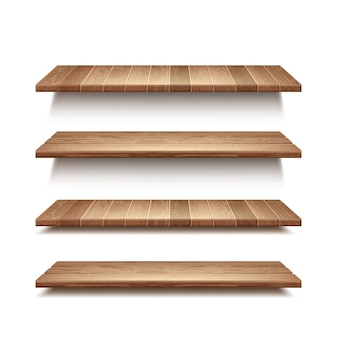 Realistische reeks lege houten planken die op witte muurachtergrond worden geïsoleerd