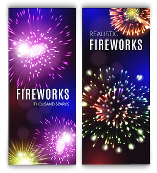 Realistische reeks van vuurwerk de verticale banners met vakantieviering geïsoleerde vectorillustratie