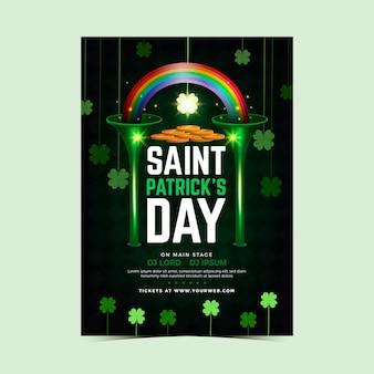 Realistische regenboog en groene klavers st. patrick's day flyer