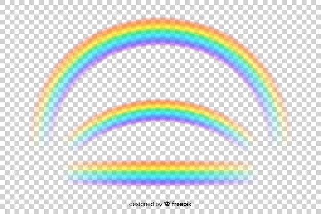 Realistische regenboog op transparante achtergrond