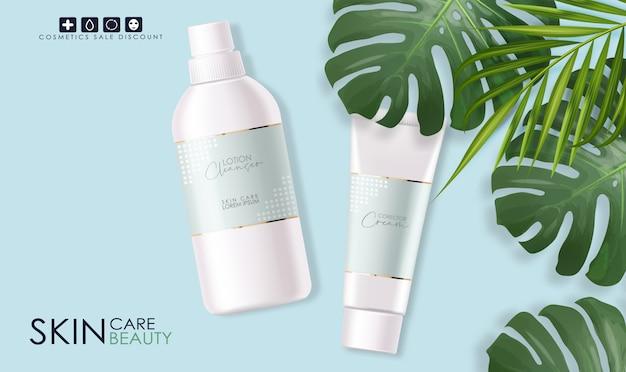 Realistische reinigingslotionfles geïsoleerde container, elegant ontwerp, verpakking, tropisch
