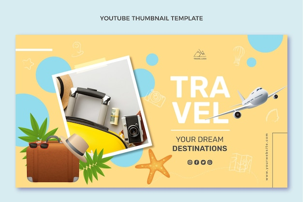 Realistische reis-youtube-miniatuur