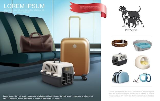 Realistische reizen met huisdieren sjabloon met halsband riem tas transport dozen dragers voor kat en hond illustratie