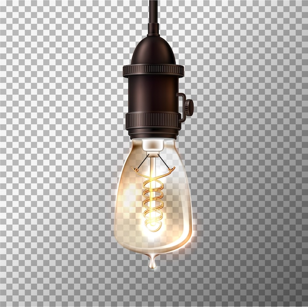 Realistische retro gloeilamp op transparante achtergrond. gloeiende vintage lamp in stoompunkstijl.