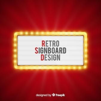 Realistische retro lichte billboard achtergrond