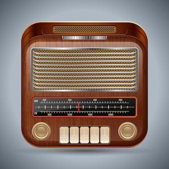 Realistische retro radio-ontvanger vector pictogram
