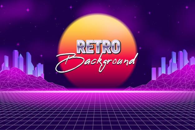 Realistische retro wave party horizontale achtergrond en virtual reality landschap met neon wolkenkrabbers