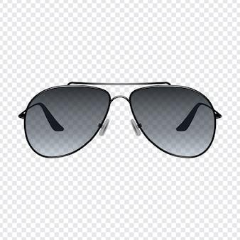Realistische retro zonnebril met transparante achtergrond