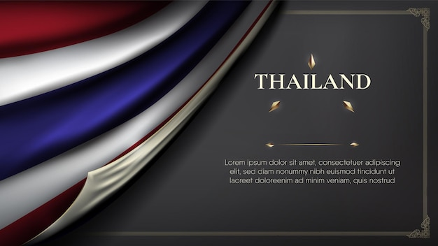 Realistische rib curl thailand vlag plus ruimte voor tekst