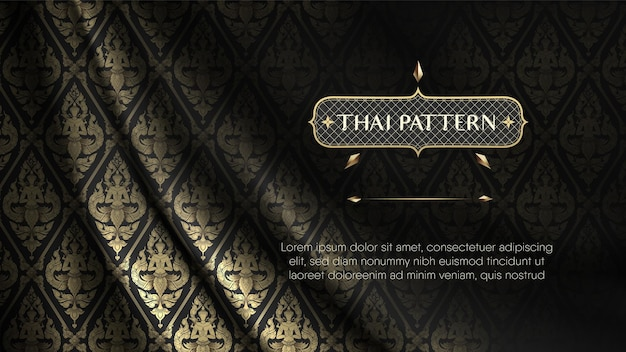 Realistische rip curl zijden stof zwart en goud thai angel patroon gordijn