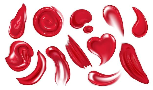 Realistische rode acrylverf vlekken of druppels