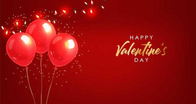 Realistische rode ballon, gouden confetti en lichten, feest, happy valentijnsdag