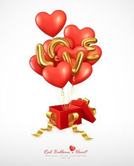 Realistische rode ballonnen hart en letter liefde stuiteren uit de geschenkdoos