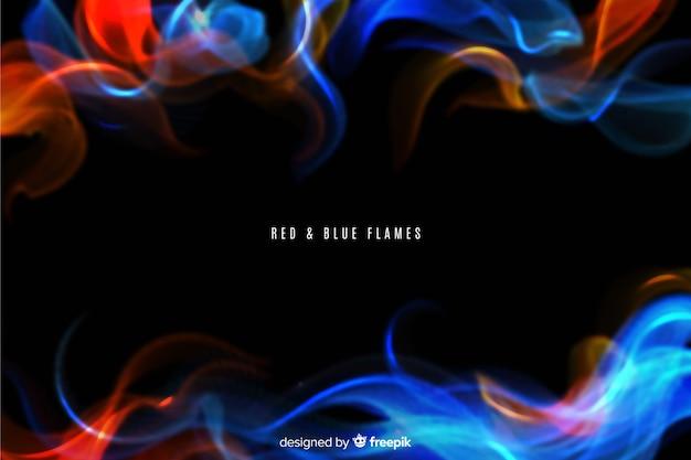 Realistische rode en blauwe vlammenachtergrond