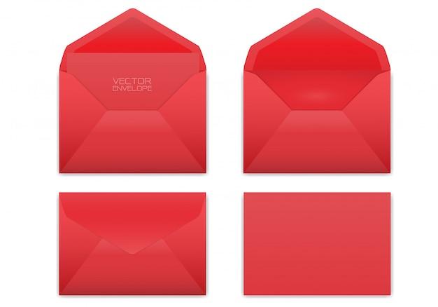Realistische rode envelop die op witte achtergrond wordt geplaatst.