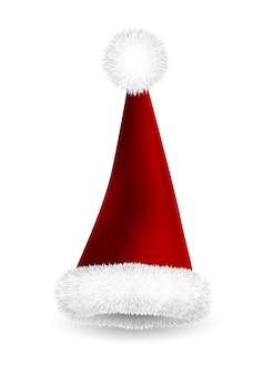 Realistische rode kerstman hoed geïsoleerd op een witte achtergrond. kerstmuts met verloopnet en bont.