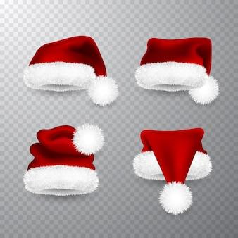 Realistische rode kerstman hoed geïsoleerd