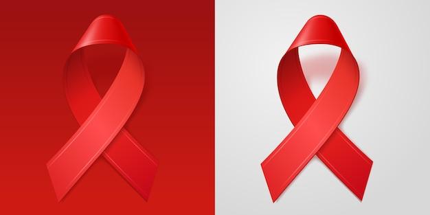 Realistische rode linten voor world aids day. december hiv-bewustzijnssymbool.