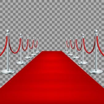 Realistische rode loper tussen touwbarrières.