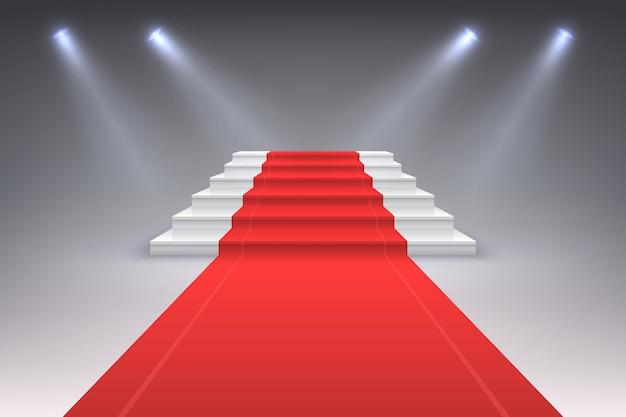 Realistische rode loper. vip spotlight-evenemententrap, prijs toegangsceremonietrap voor succes. luxe rode loper concept
