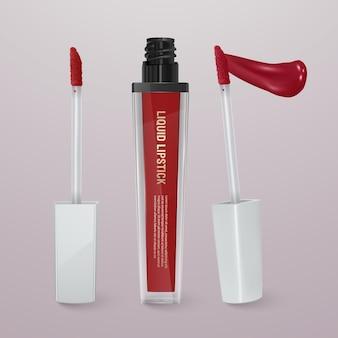 Realistische, rode vloeibare lippenstift met lippenstift. 3d-afbeelding, trendy cosmetisch ontwerp