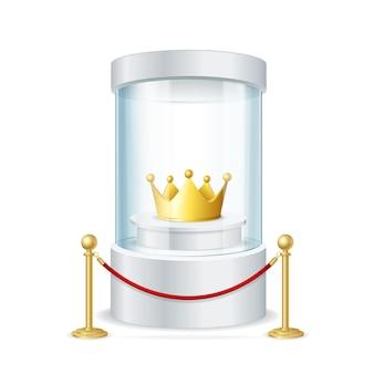 Realistische ronde glazen vitrine met gouden kroon en rode touwbarrière voor uw ontwerp. vector illustratie