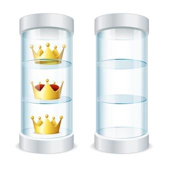 Realistische ronde glazen vitrine met lege planken en gouden kronen voor uw ontwerp. vector illustratie