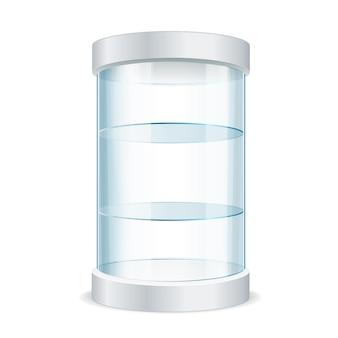 Realistische ronde lege glazen vitrine voor tentoonstelling met planken. vector illustratie