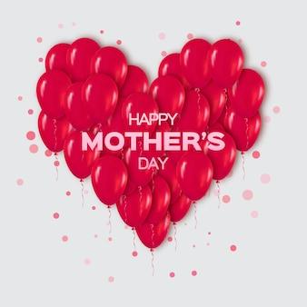 Realistische rood hart bos van ballonnen voor happy mother's day
