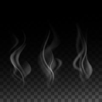 Realistische rook die op transparante darckachtergrond, illustratie wordt geplaatst