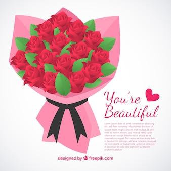 Realistische roos boeket achtergrond