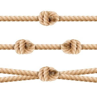 Realistische rope line eith knot set