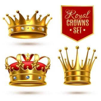 Realistische royal crown icon set