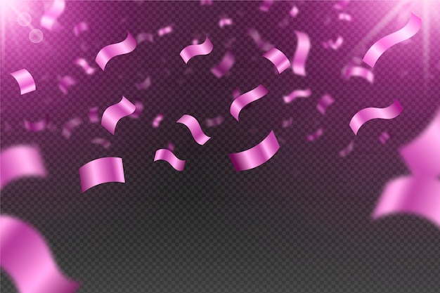 Realistische roze confetti achtergrond