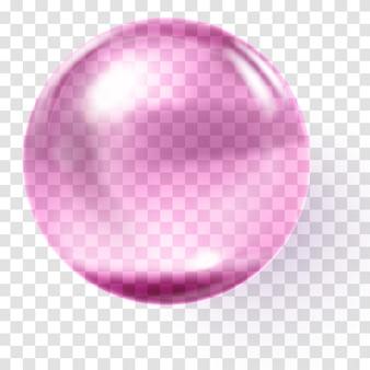 Realistische roze glazen bol. transparante roze bol