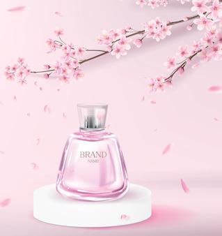 Realistische roze parfumfles op de catwalk om reclame te maken voor een parfummerk. cosmetisch product met kersenbloesem