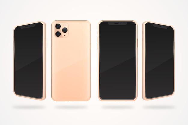 Realistische roze smartphone in verschillende weergaven