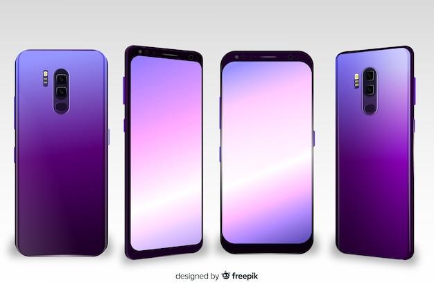 Realistische roze smartphone verschillende weergaven