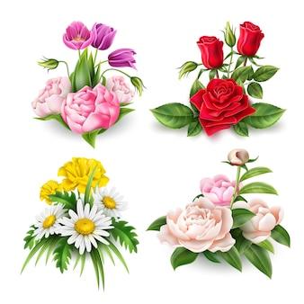 Realistische roze tulp pioenroos en madeliefje bloemen boeket set elegante valentijnsdag decoratie