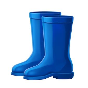 Realistische rubberen laarzen voor tuinwerk. waterdichte schoenen voor buitenwandelen in de herfst.