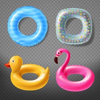 Realistische rubberen ringen - gele eend, kinderachtige roze flamingo of blauwe reddingsboei.